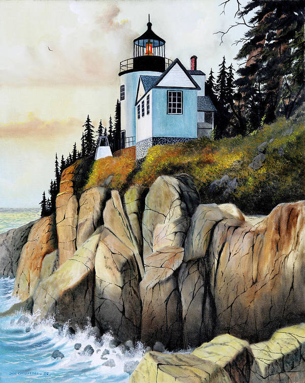Lighthouse Poster featuring the painting Bass Light by Don Griffiths