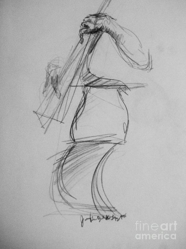Bass Poster featuring the drawing Bass Man by Jamey Balester