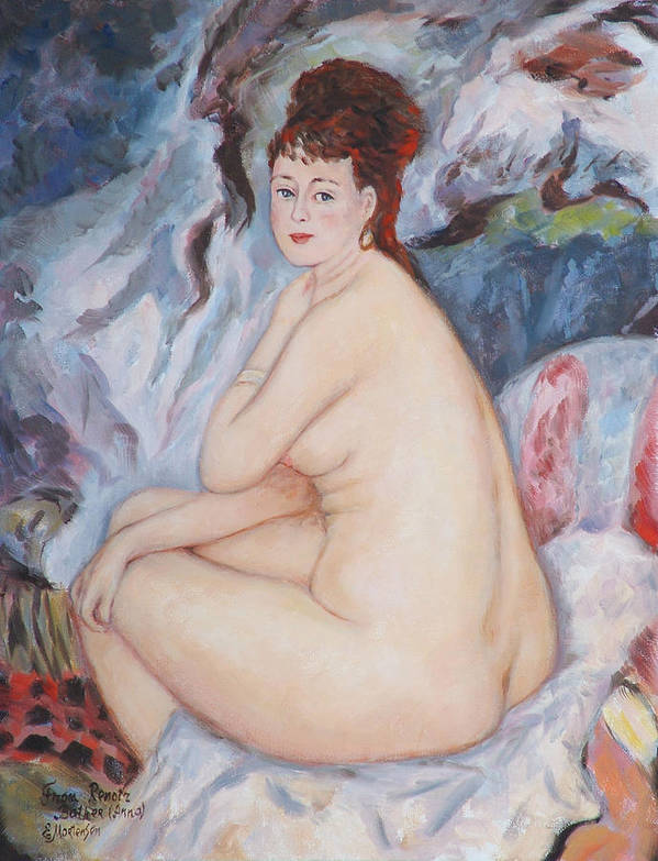 Portrait Poster featuring the painting Bather My Reproduction Of Renoirs Work by Ekaterina Mortensen