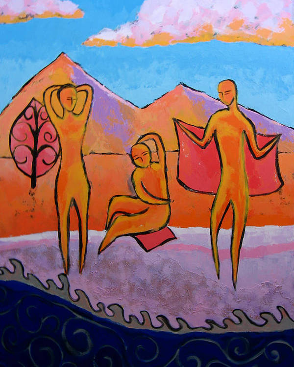 Figurative Poster featuring the painting Bathers 2 by Aliza Souleyeva-Alexander