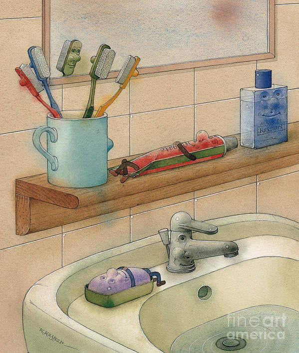 Bathroom Bath White Water Poster featuring the painting Bathroom by Kestutis Kasparavicius