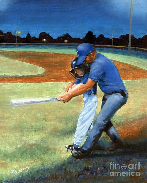 Little League Poster featuring the painting Batting Coach by Pat Burns