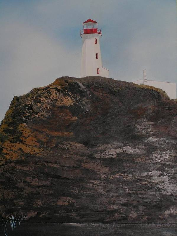 Lighthouse Poster featuring the painting Battle Island Lighthouse by Paul Jefferson