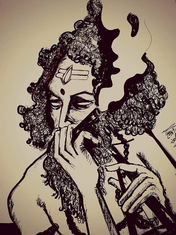Baul Shiva Smoking Weed Poster By Debarshi Ganguly
