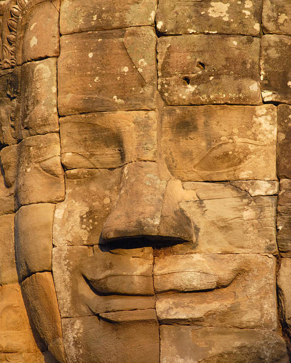 Cambodia Poster featuring the photograph Bayon Temple by Liz Pinchen