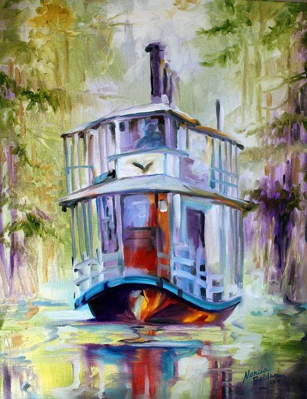 Wetlands Poster featuring the painting Bayou Taxi Waterscape by Marcia Baldwin