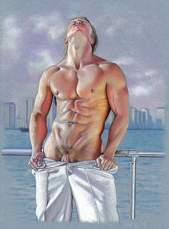 Male Nude Poster featuring the drawing Bayside by Chance Manart