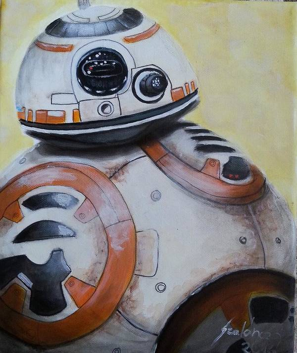 Star Wars Poster featuring the painting BB-8 Star Wars by Judit Szalanczi