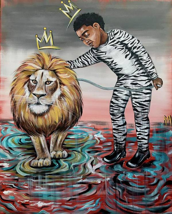 Son Poster featuring the painting Be Courageous My Son by Artist RiA