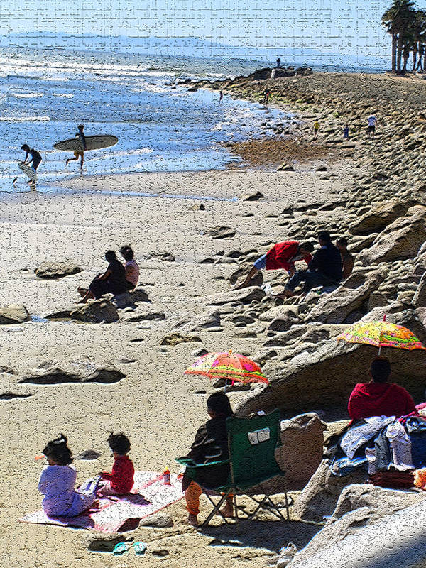 Beachscape Poster featuring the photograph Beach Babies 2 by Robin Hernandez