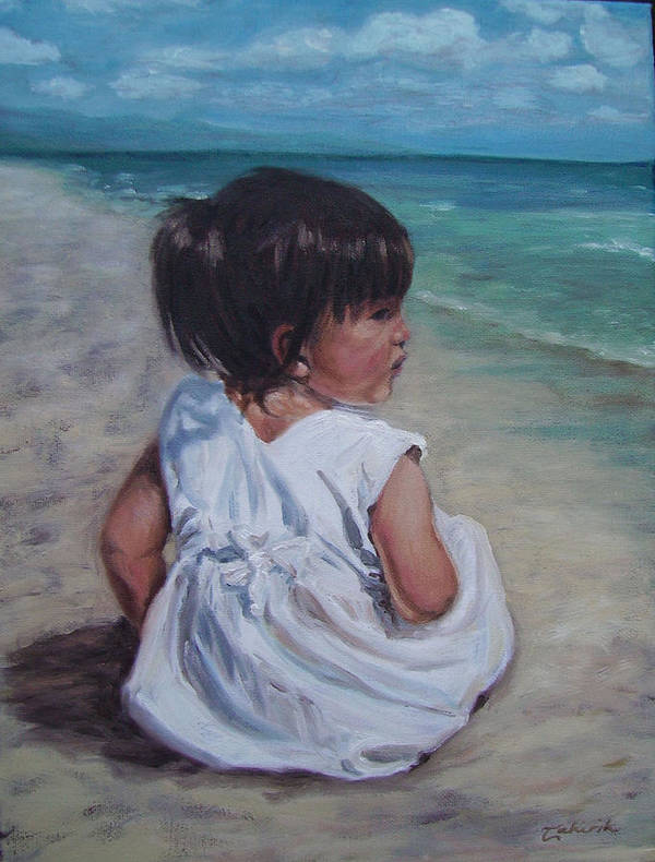 Children Poster featuring the painting Beach Baby by Tahirih Goffic