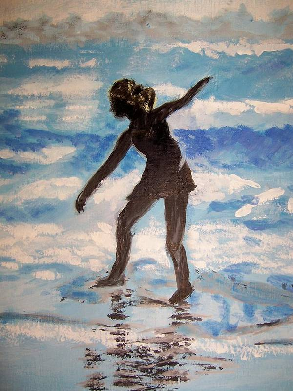 Beach Poster featuring the painting Beach Dancer by Ann Whitfield