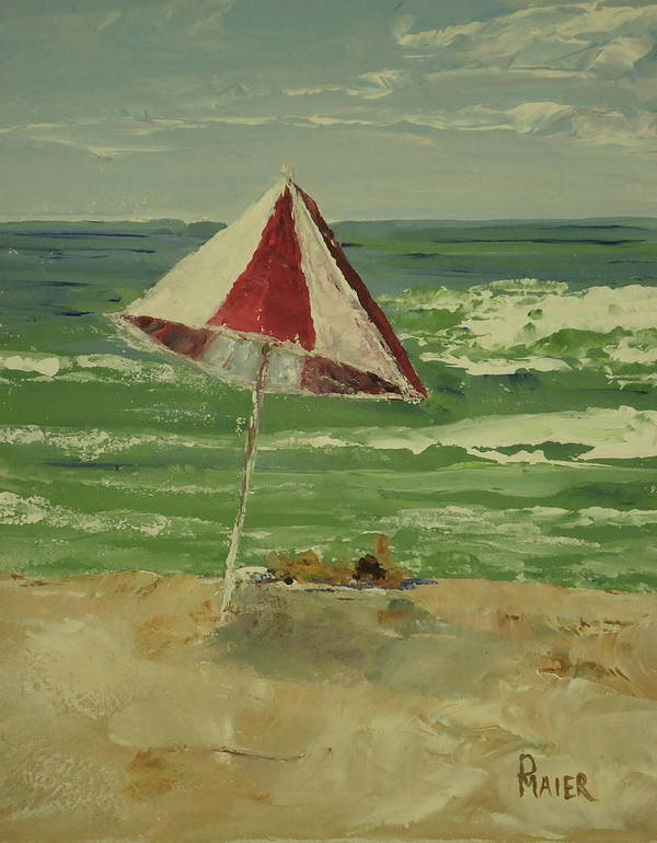Seascape Poster featuring the painting Beach Day by Pete Maier