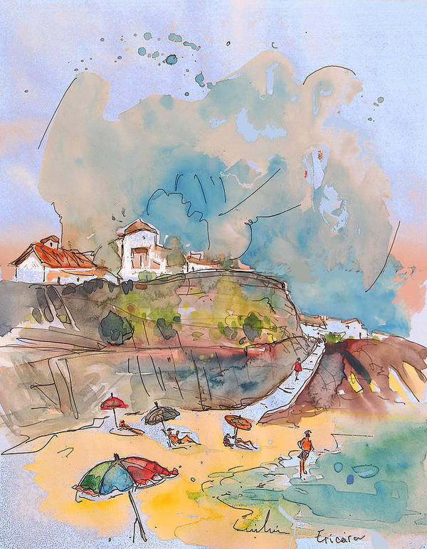 Portugal Art Poster featuring the painting Beach In Ericeira In Portugal by Miki De Goodaboom