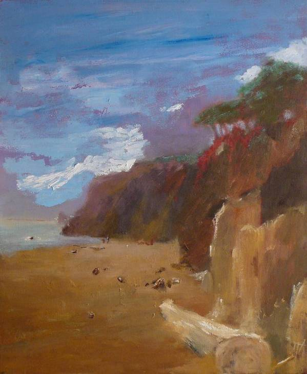 Sea Scape Poster featuring the painting Beach In Santa Barbara by Irena Jablonski