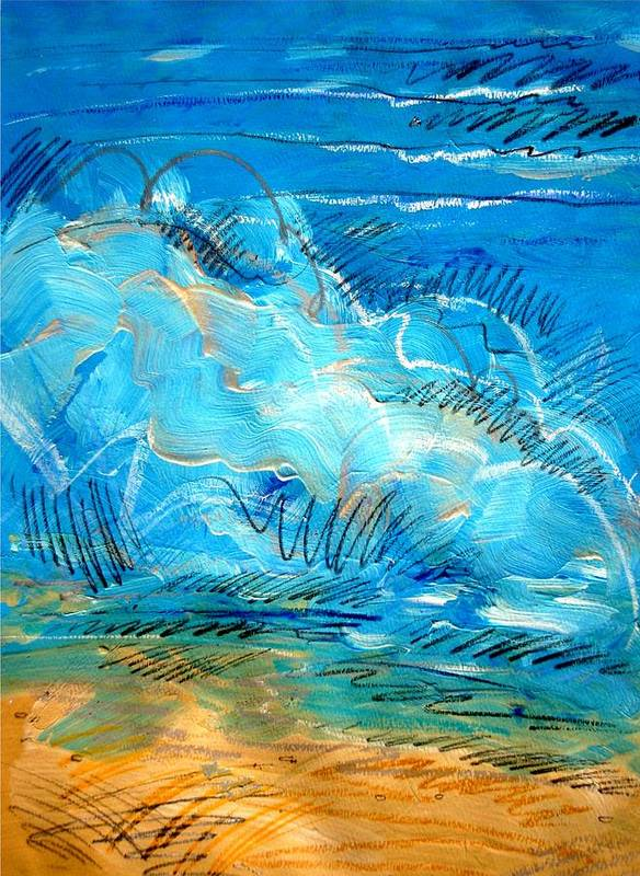 Ocean Poster featuring the painting Beach Wave IIi by Dodd Holsapple