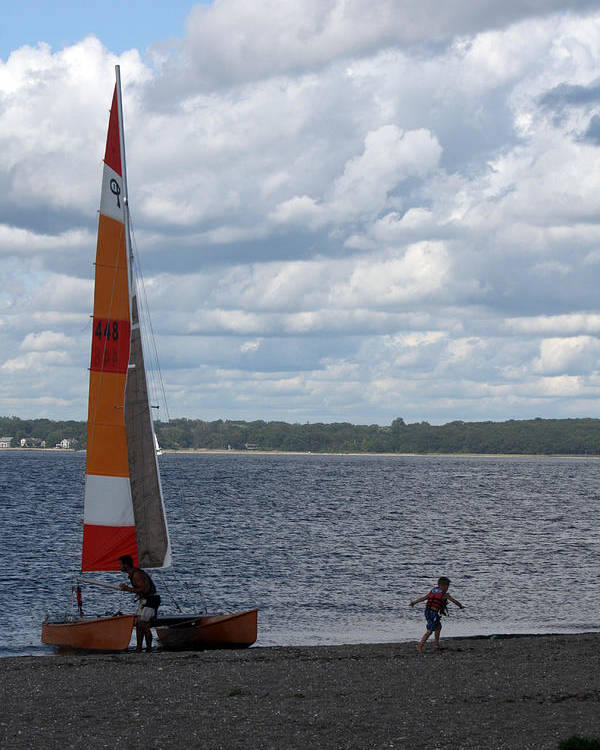 Beach Poster featuring the photograph Beached Catamaran by Jeff Porter