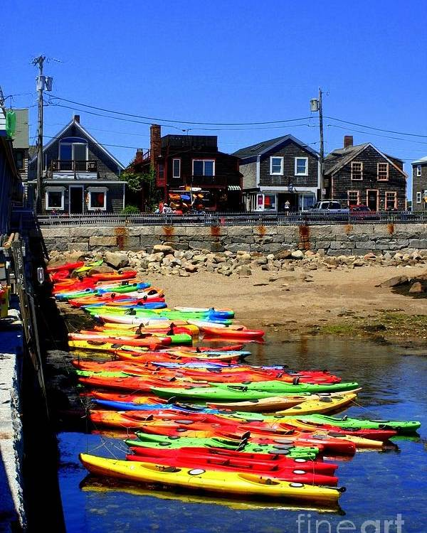 Rockport Poster featuring the photograph Beached Kayaks by John Kenealy