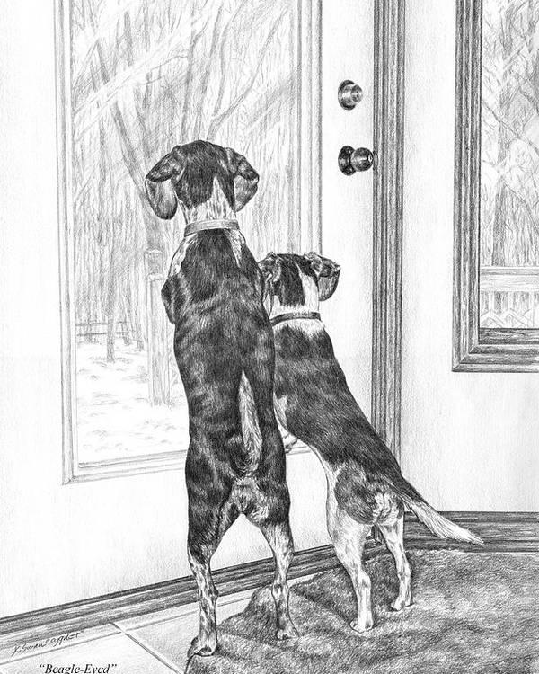 Beagle Poster featuring the drawing Beagle-eyed - Beagle Dog Art Print by Kelli Swan