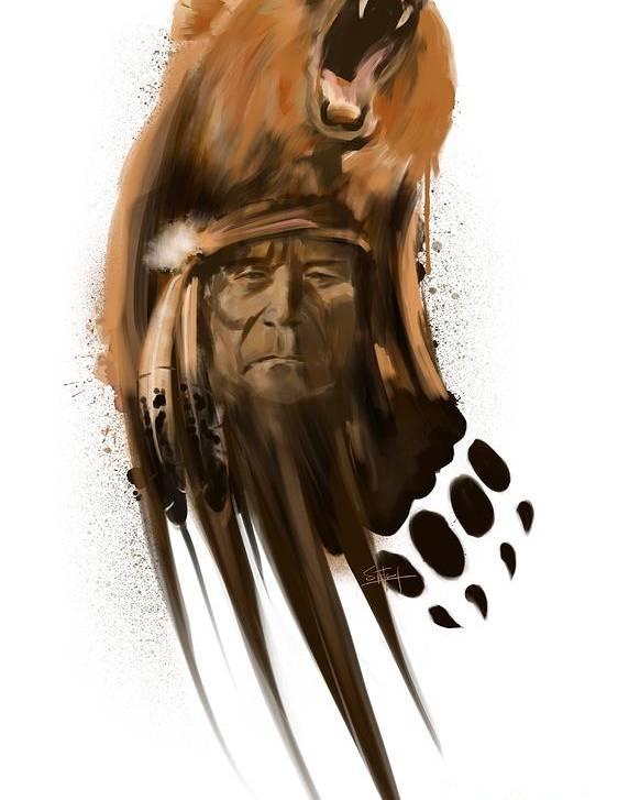 Bear Art Poster featuring the painting Bear spirit by Sassan Filsoof