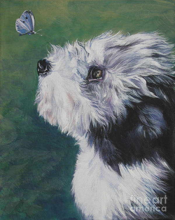Bearded Collie Poster featuring the painting Bearded Collie Pup With Butterfly by Lee Ann Shepard