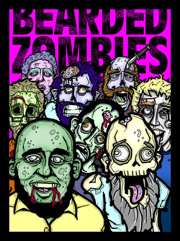 Zombies Poster featuring the digital art Bearded Zombies Group Photo by Christopher Capozzi