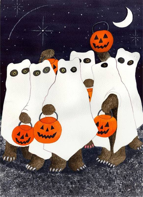 Halloween Poster featuring the painting Bear's Freebie Night by Catherine G McElroy