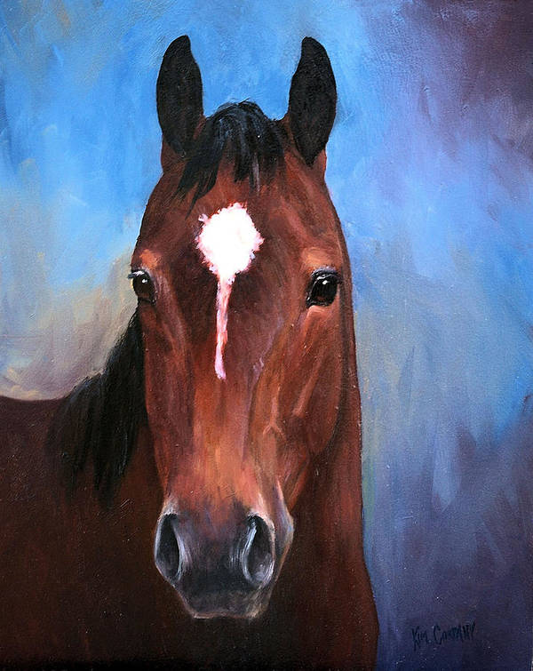 Horse Poster featuring the painting Beau Quarter Horse Portrait by Kim Corpany