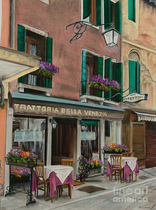 Venice Italy Art Poster featuring the painting Beautiful Restaurant In Venice by Charlotte Blanchard