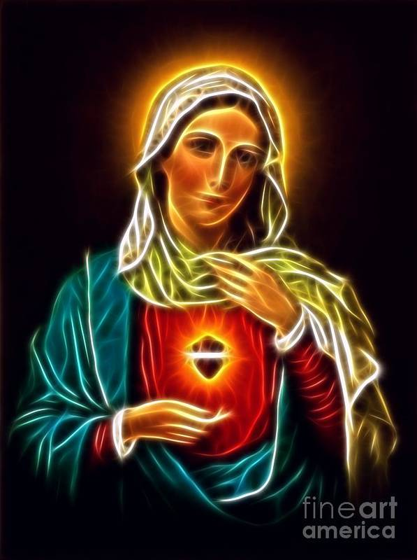Virgin Mary Sacred Heart Poster featuring the mixed media Beautiful Virgin Mary Sacred Heart by Pamela Johnson