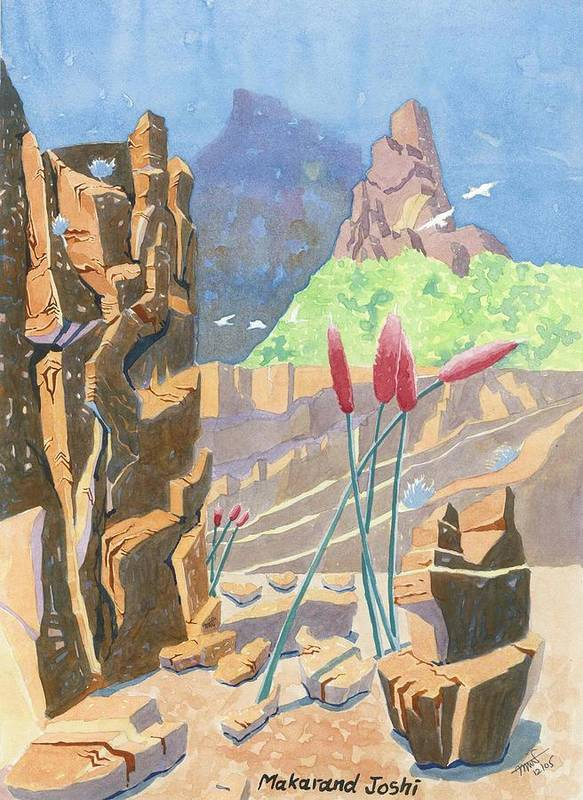 Makarand Joshi Poster featuring the painting Beauty In Wilderness by Makarand Joshi