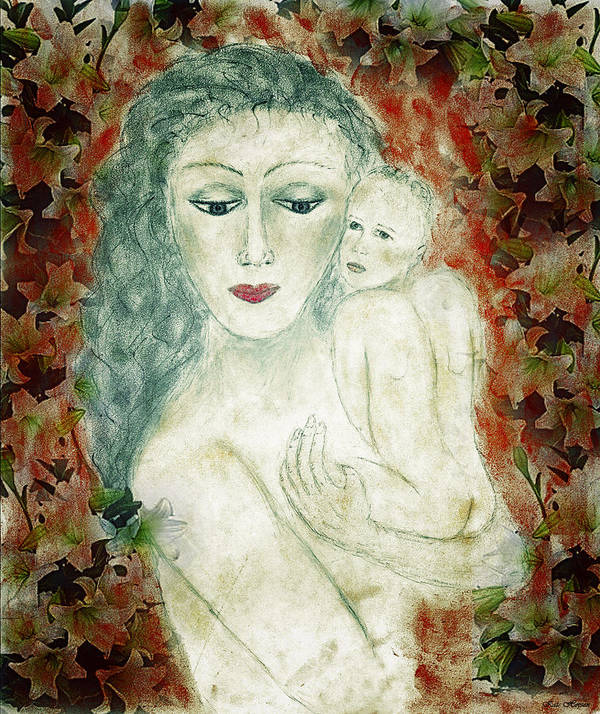 Woman Holding Baby Poster featuring the painting Beauty by Kate Hopson