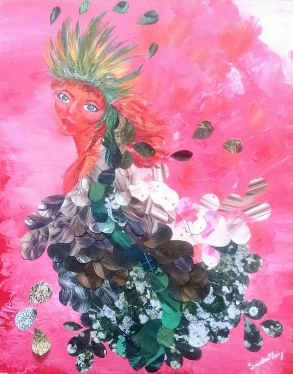 Woman Poster featuring the mixed media Beauty by Sandra Belz