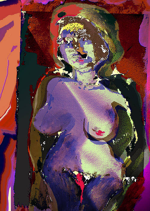 Nude Poster featuring the painting Because by Noredin Morgan
