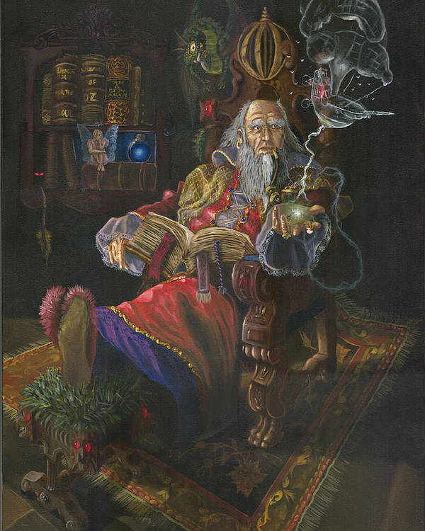 Wizard Poster featuring the painting Bedtime Stories by Jeff Brimley