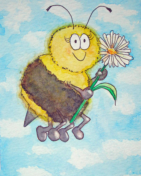 Watercolor Bee Insect Happy Whimsical Humor Funny Honey Sky Yellow Child Children Illustration Poster featuring the painting Bee Happy Whimsical Watercolor by Kerra Lindsey