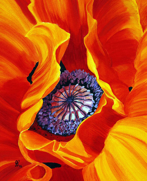 Macro Flower Poster featuring the painting Bee by Julie Pflanzer