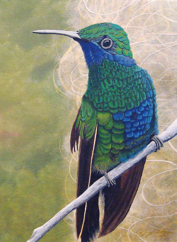 Humming Bird Poster featuring the painting Beija Flor And Nest by Jeffrey Oldham