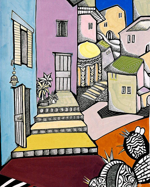 Cityscape Poster featuring the painting Beit She'an by Maya Green