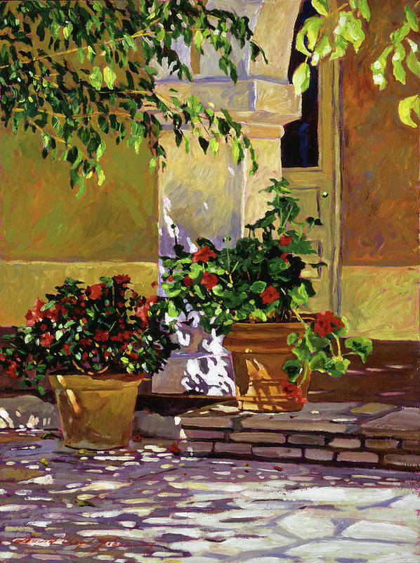 Bel-air Hotel Poster featuring the painting Bel-air Patio Steps by David Lloyd Glover