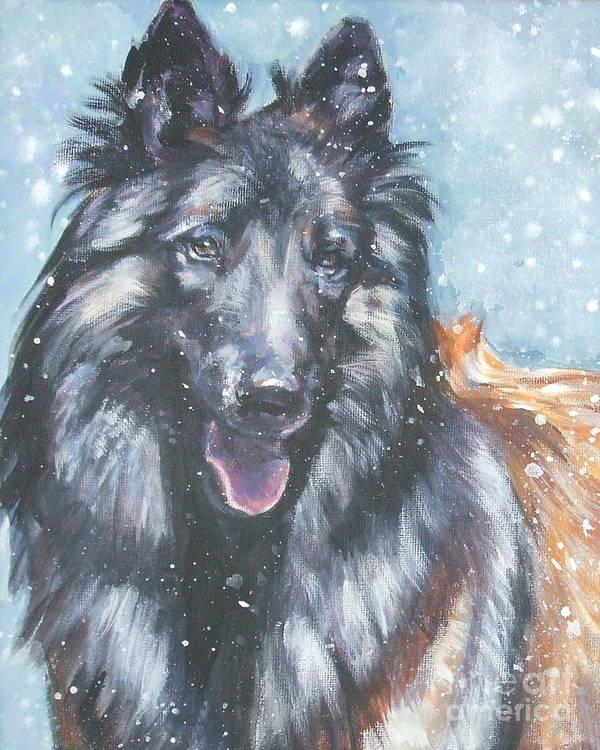 Belgian Tervuren Poster featuring the painting Belgian Tervuren In Snow by Lee Ann Shepard