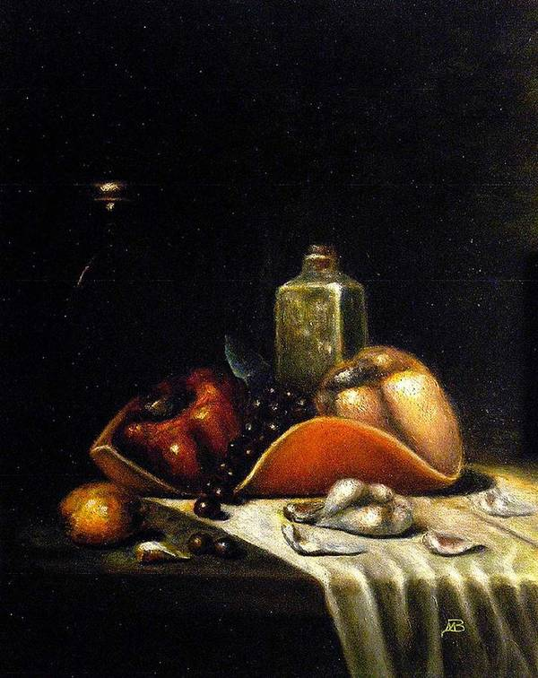 Still Life Poster featuring the painting Bell Peppers on the Orange Tray by MM Zurahov