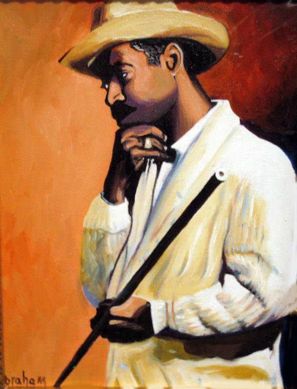 Cuban Art Poster featuring the painting Benny 2 by Jose Manuel Abraham