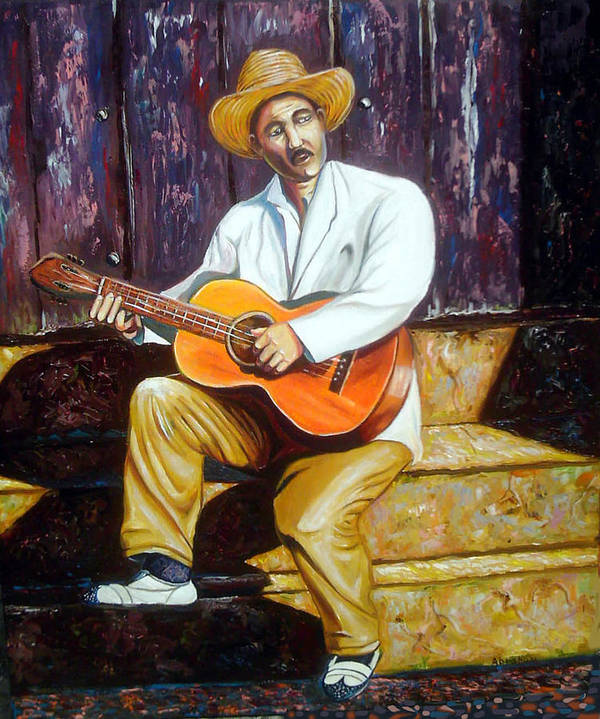 Cuban Art Poster featuring the painting Benny by Jose Manuel Abraham