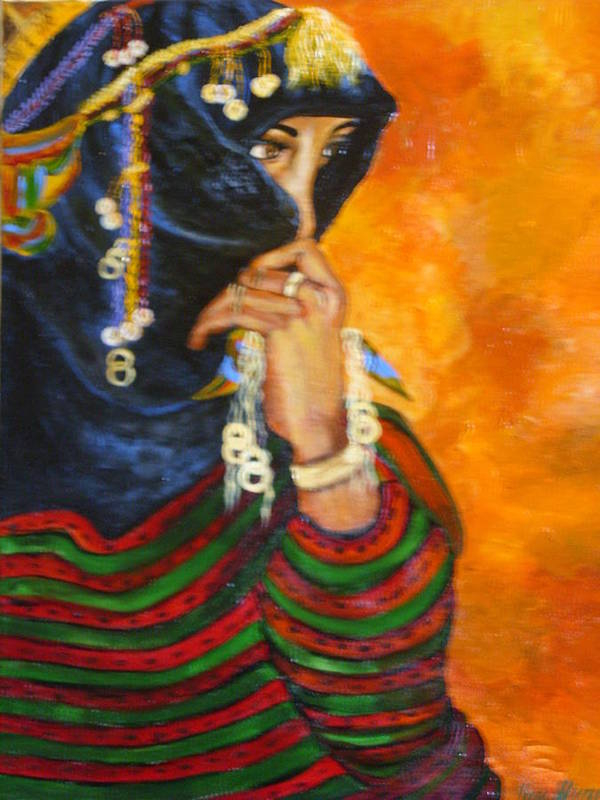 Poster featuring the painting Berbere Marocaine by ALVAREZ Jacky