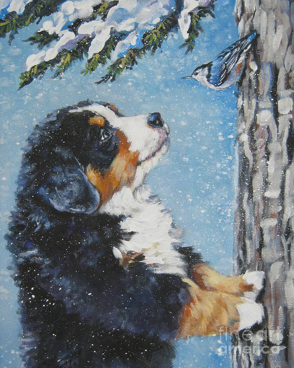 Bernese Mountain Dog Poster featuring the painting bernese Mountain Dog puppy and nuthatch by Lee Ann Shepard