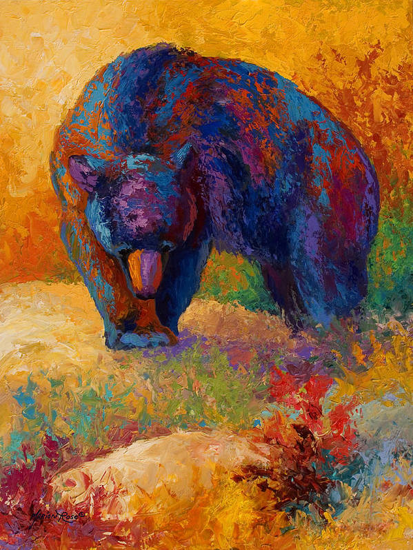 Bear Poster featuring the painting Berry Hunting by Marion Rose