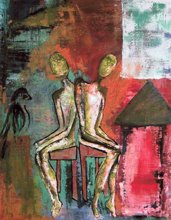 Figure Poster featuring the painting Beside Myself by Terrie Yeatts
