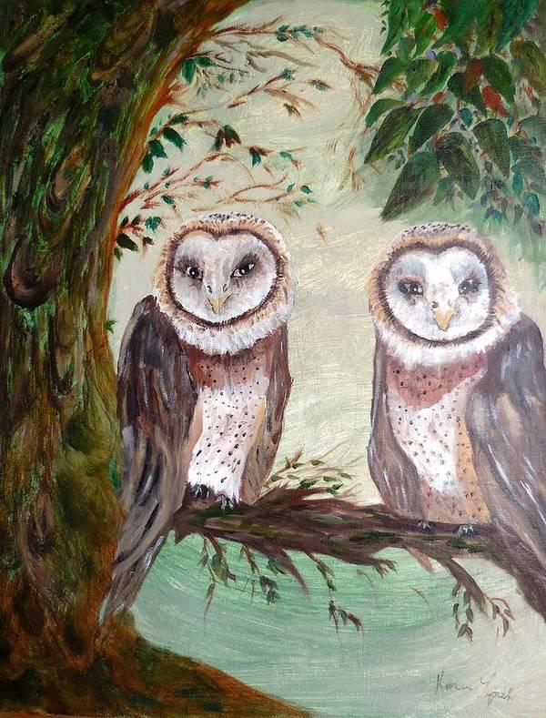 Birds Poster featuring the painting Best Friends by Karen Lipek