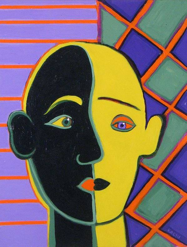 Face Poster featuring the painting Better Half by Rollin Kocsis